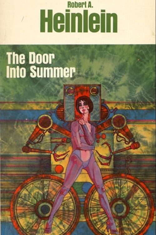 """damiangnarly: """"The cover to the paperback version of The Door Into Summer by Robert A. Heinlein. This lovely psych inspired cover art is by Gene Szafran. """""""