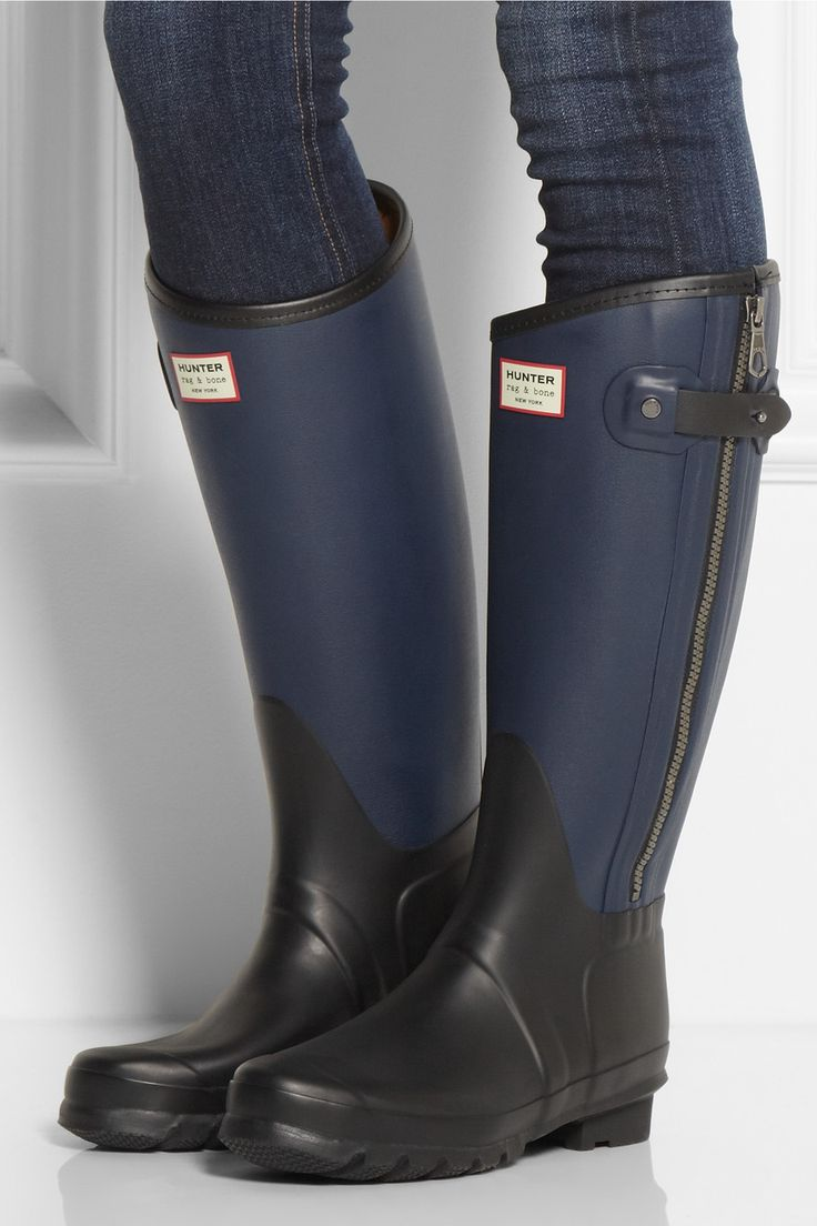 Hunter | + rag & bone leather-effect Wellington boots | NET-A-