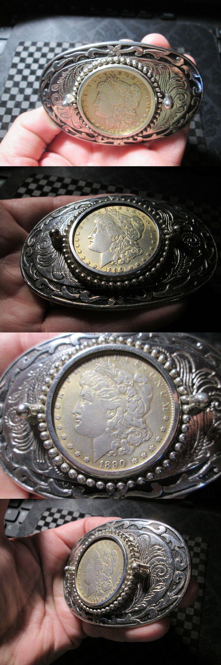 Bullion: Vintage Belt Buckle 1890 Morgan Silver Dollar Belt Buckle Deer Antlers -> BUY IT NOW ONLY: $65 on eBay!