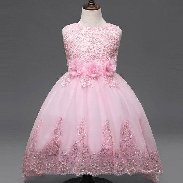 * Roses at waist<br /> * Zipper back<br /> * Material: Shell: 100% Polyester; Lining: 100% Cotton<br /> * Machine wash, tumble dry<br /> * Imported<br /> <br /> Your little one will shine in this elegant floral party dress boasting the sparkle hem and roses accent at waist.