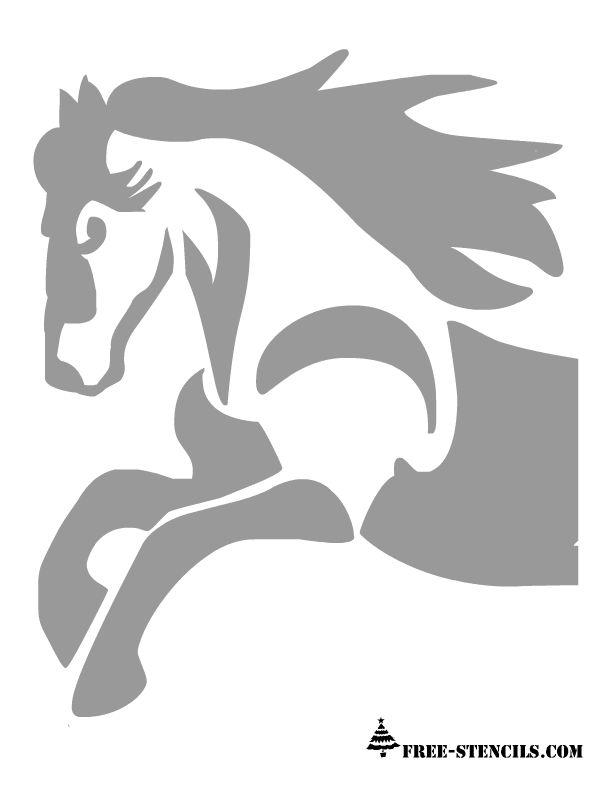 Free Printable Horse Stencil (stallion, mare, silhouette, running, galloping, mane)