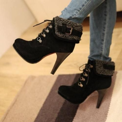 Stylish Women's Elegant Ankle Boots High Heels Lace Up 4 Color Shoes Warm Boots