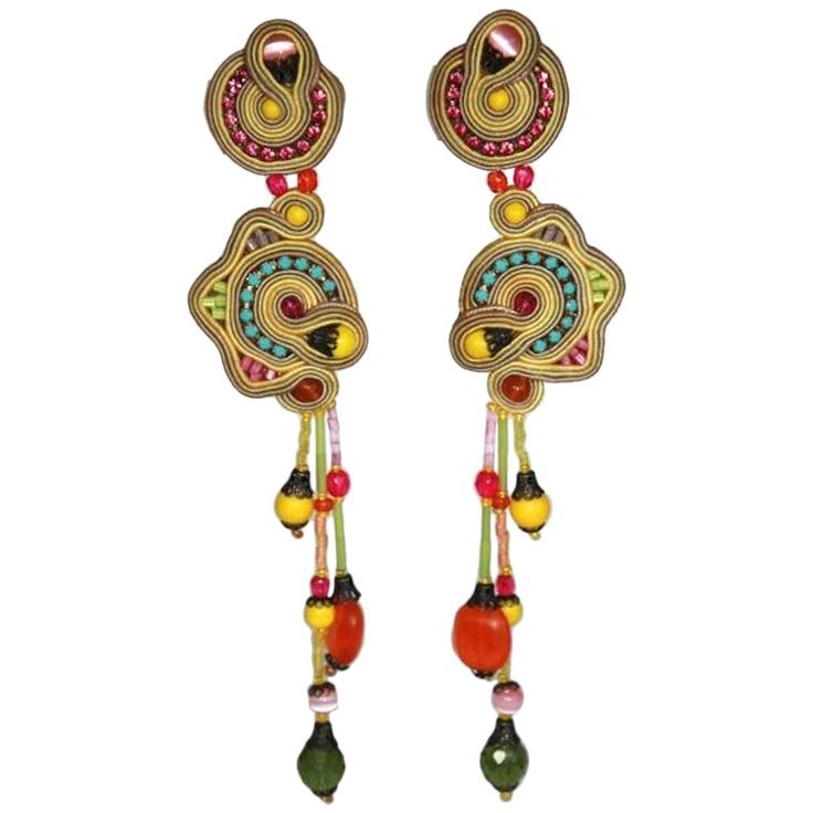 Dori Csengeri 2013 Embroidered Clip Earrings | From a unique collection of vintage clip-on earrings at https://www.1stdibs.com/jewelry/earrings/clip-on-earrings/