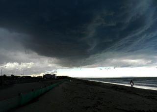 dark and cloudy beach