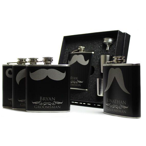 Wedding Favor Flasks for Groomsmen Gift Set 6oz Set of 5 Mustache Black on Etsy, $110.00