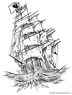 Old Pirate Ship Tattoo