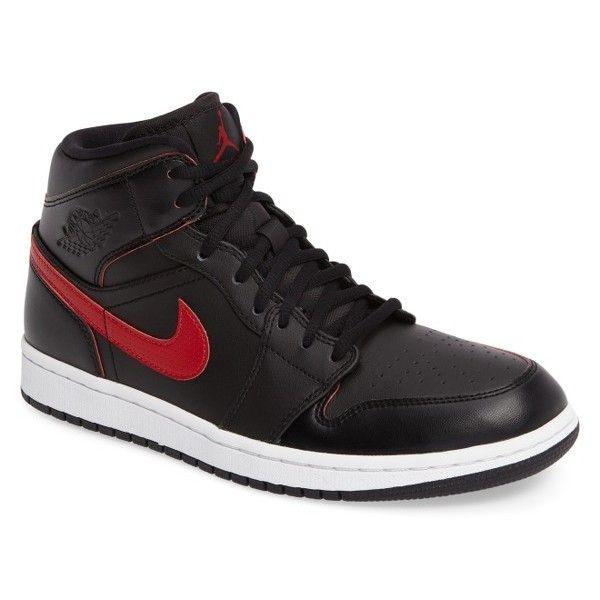 Men's Nike 'Air Jordan 1 Mid' Sneaker ($110) ❤ liked on Polyvore featuring men's fashion, men's shoes, men's sneakers, mens retro sneakers, nike mens sneakers, mens multi colored shoes, mens retro shoes and mens shoes