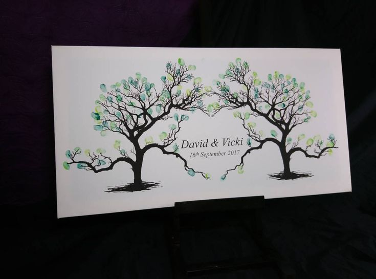 Guest Book Idea, Modern Guest Book Canvas, Personalised Guest Book, Wedding Tree, Wedding Guestbook, Finger Print Tree, Custom Guestbook by TheCraftyAnimalUK on Etsy
