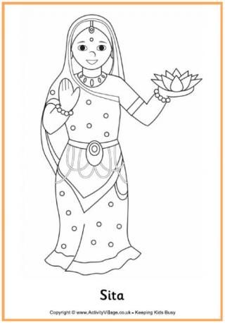 heres a pretty diwali colouring page of sita wife of rama who was kidnapped by the evil ravana before being rescued by her husband and the monkey king