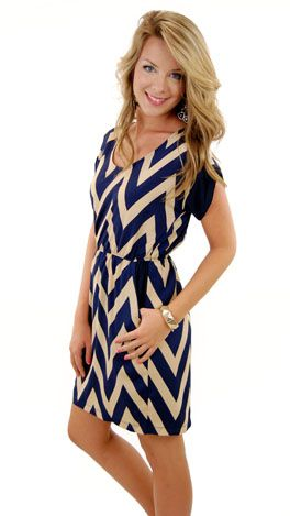 Becca Chevron Dress, Navy :: NEW ARRIVALS :: The Blue Door Boutique