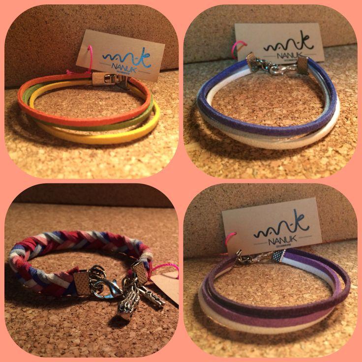 Pulseras de antelina hechas por Nanuk accessoris. https://www.facebook.com/nanukaccessoris #pulseras #nanuk #new #complementos #primavera #bisuteriaartesana #hechoamano #tendencias