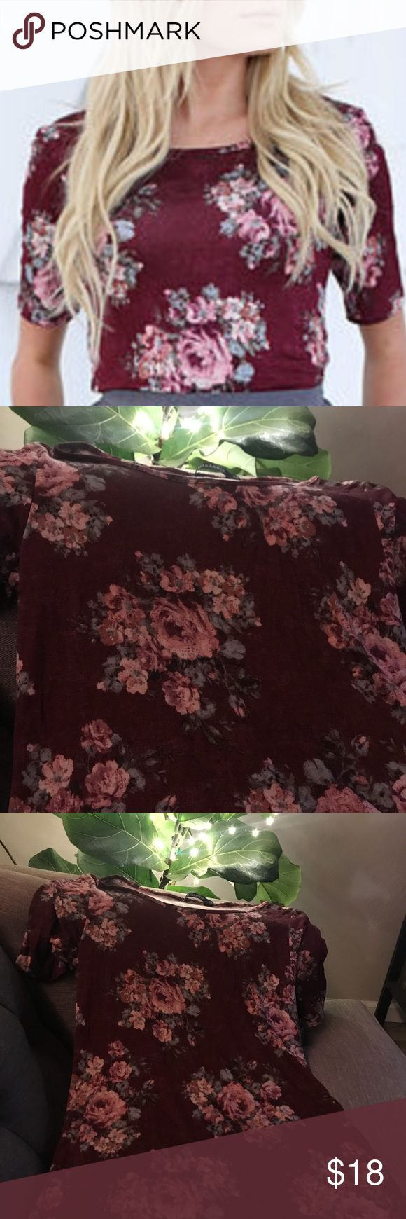 Mikarose burgundy floral medium blouse Floral burgundy top pairs beautifully with a sweet skirt and ankle boots or jeans and flats. Light and soft rayon fabric. Fits true to size medium, figure hugging. Machine wash, hang dry. Mikarose Tops Blouses
