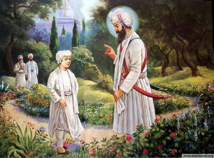 """( Har Rai Sahib Ji ) As a young child Sri (Guru) Har Rai Sahib Ji was running in the flower garden at Kiratpur Sahib. He was wearing a baggy cloak. While running the cloak he brushed passed some flowers, thus the flowers were damaged. With love and compassion, Guru Hargobind Sahib Ji, the seventh Guru jis grandfather, explained to the Guru Har Rai Sahib Ji, """"Always walk and move with care. Look after and manage your cloak and ensure that it doesn't hurt or damage any..."""
