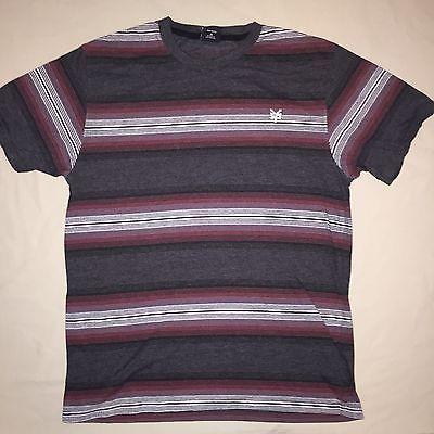 Mens Size M Medium Zoo York Striped T Shirt Burgundy / Gray Pre -Owned