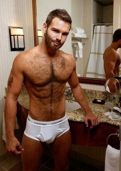 Naked man with hairy chest