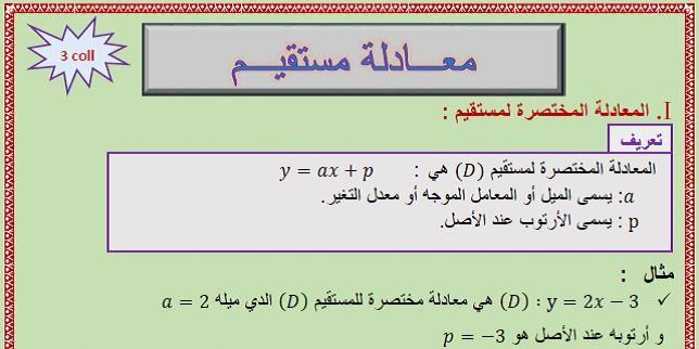 Equation Of A Straight Line درس معادلة مستقيم للثالثة إعدادي Airline Travel Boarding Pass