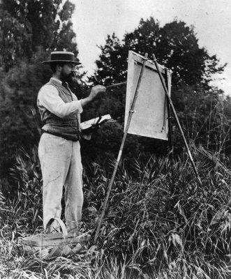 John Singer Sargent painting outdoors.