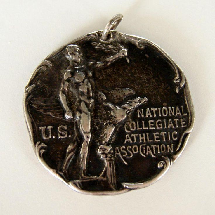 National Collegiate Athletic Association Sterling 1931 Art Deco/Nouveau Medal Wrestling