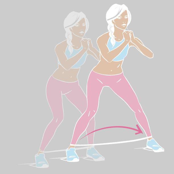 Der Side Walk trainiert  Po, Hüfte und Oberschenkel