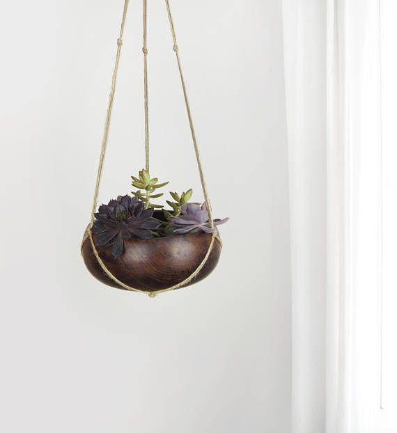 Vintage Wooden Hanging Planter  Dark Wood Bowl  Succulent