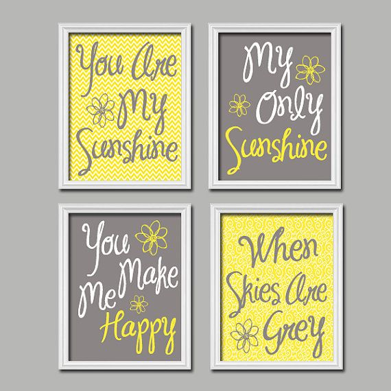 Yellow Gray You Are My Sunshine Wall Art Canvas Or Prints Baby Girl Nursery Decor Song Rhyme Quote Artwork Girl Bedroom Pictures Set Of 4