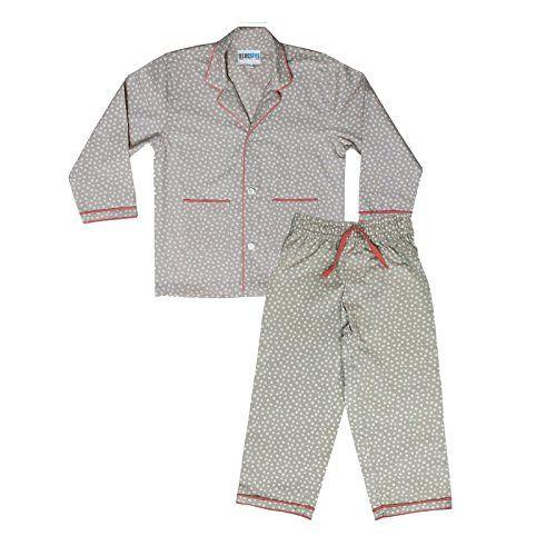 #BlueEye Trends Kids #Nightwear Boys & Girls #Polka Print Cotton Grey 6 - 7 Years