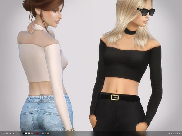 The Sims Resource: Anna Top by toksik • Sims 4 Downloads