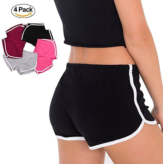 4 PACK Women Hot Sports Shorts Gym Workout Yoga Short Athletic Elastic Waist (US 2-4, 4 Pack(Pink&Black&Gray&Wine Red)): Amazon.ca: Clothing & Accessories