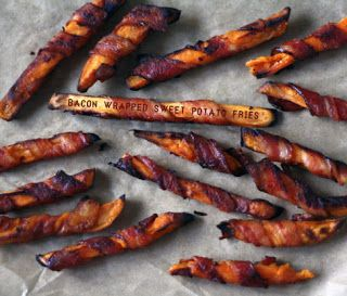 The Paleo Home: Snacks Bacon wrapped sweet potato fries... DANGEROUS