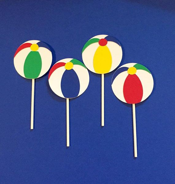 Hey, I found this really awesome Etsy listing at https://www.etsy.com/listing/248589079/beach-ball-cupcake-toppers-set-of-12