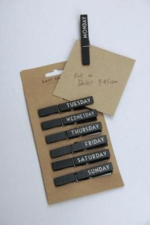 Days Of The Week Pegs $8 @ www.graceandlace.com.au