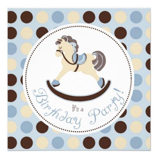 Blue Rocking Horse Birthday Invitation