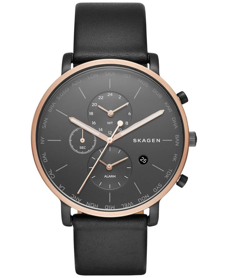 Rose gold-tone accents highlight the dark dial of this black leather strap watch from Skagen's Hagen World Time collection. | Black leather strap | Round rose gold-tone stainless steel case, 42mm | Bl