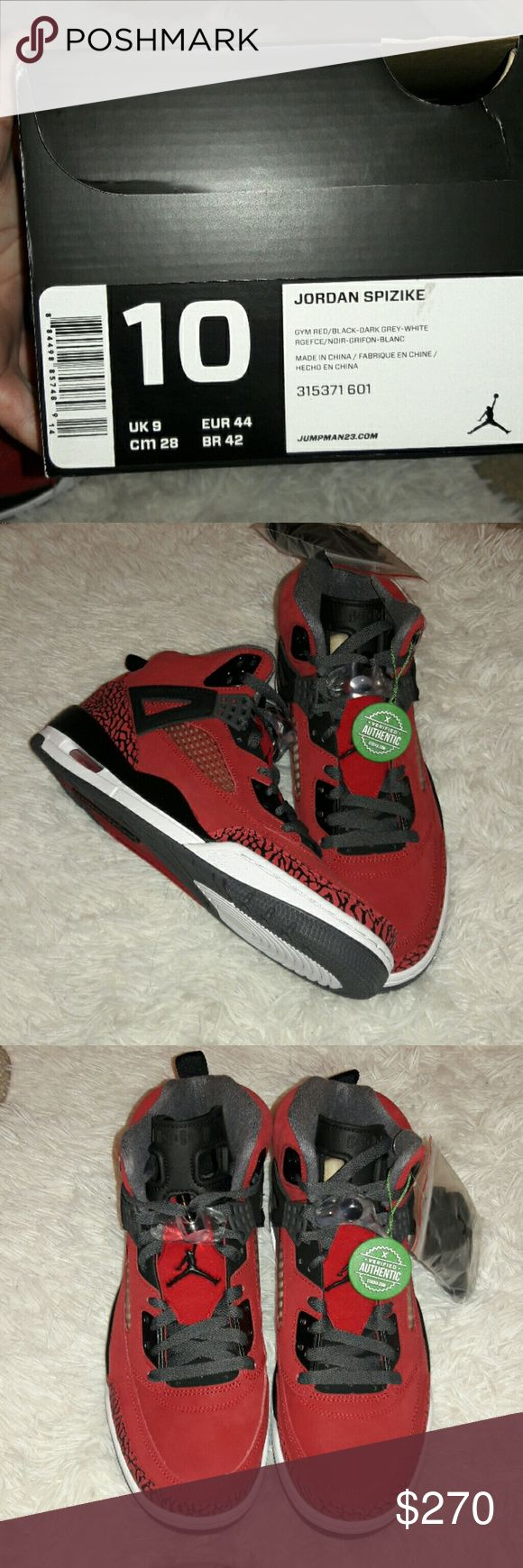 """Jordan Spizike """"Toro Bravo"""" Gym Red The Jordan Spizike is propelled after the first that was made with famous executive Spike Lee. Emphasizing a calfskin and engineered upper for a strong fit, a lightweight Phylon padded sole with an obvious Air-Sol unit for padding and a tough elastic outsole for prevalent footing.With a bold red suede look... An extra black laces to switch your sure to look on point. Jordans Shoes"""