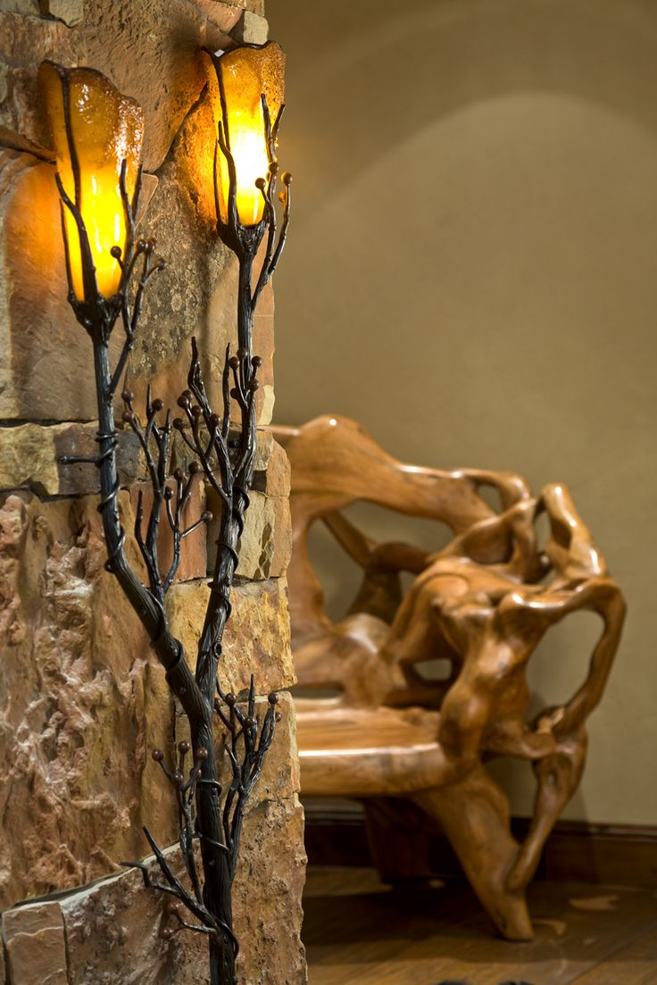 Paula Berg rustic lighting feature - this wall sconce would look great in a log cabin or a rustic #WesternHome