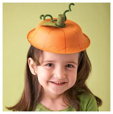 A cute Halloween hat for kids to make! How-to info here: http://www.bhg.com/halloween/crafts/painted-halloween-pumpkin-hat/