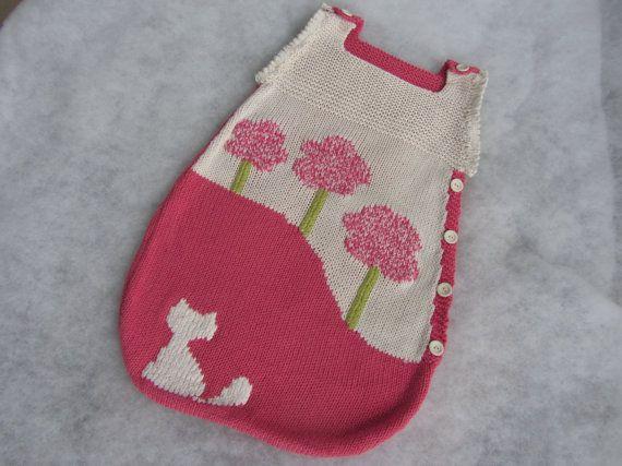Hand knit baby bunting bag made of all natural yarn. by KNITLEBITS