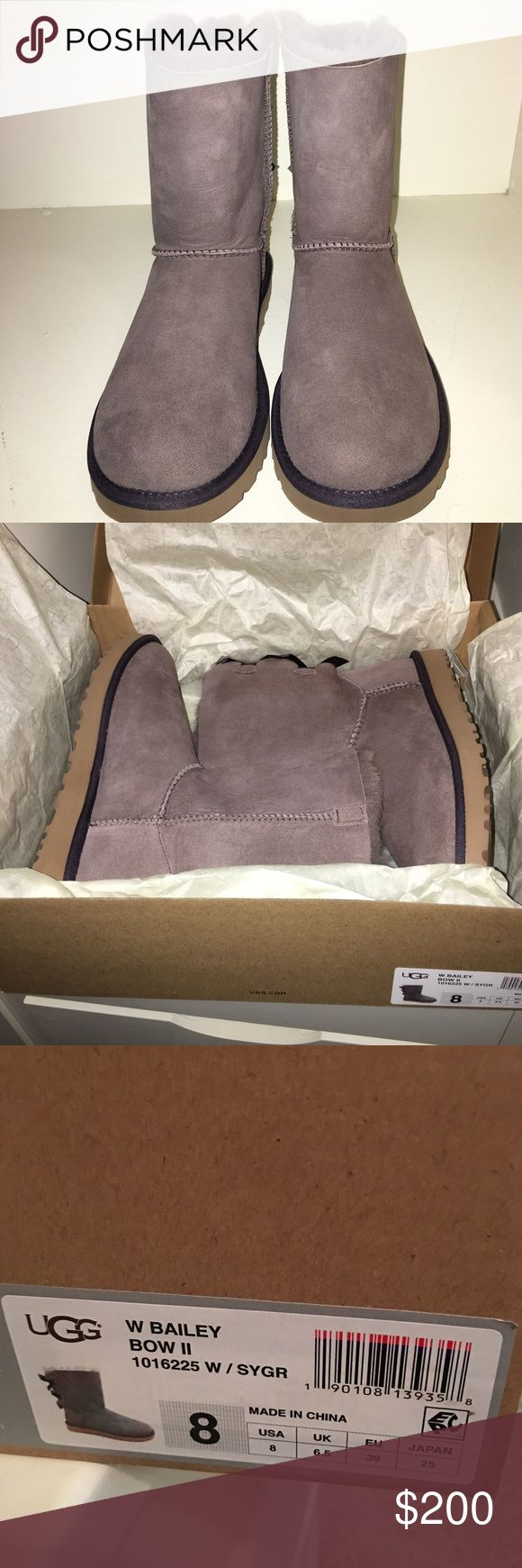 ⭐️NWT⭐️Bailey bow II - Stormy Grey Uggs Brand New - Never Worn - Classic Bailey Bow II Uggs - received 2 pairs for my birthday and I don't need these :) UGG Shoes Winter & Rain Boots