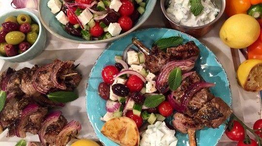 Greek lamb kebabs with Greek salad