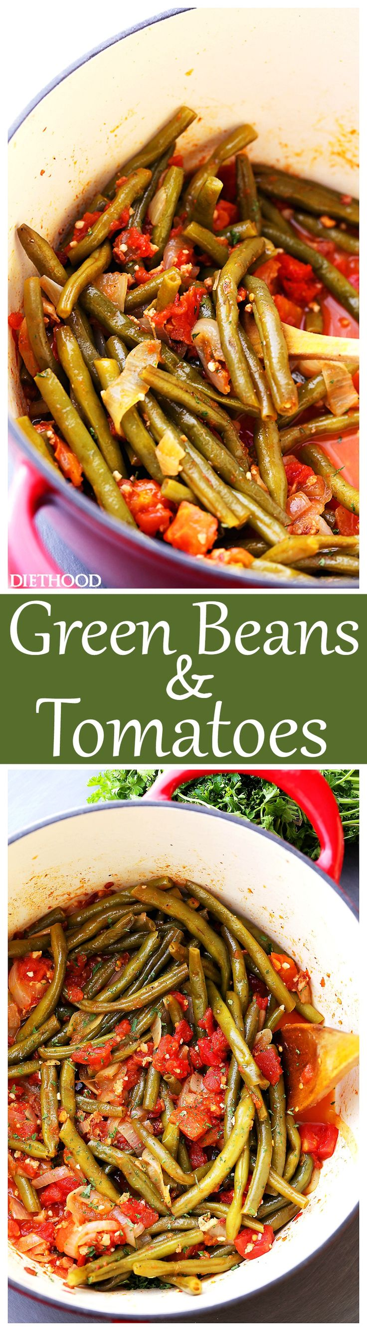 Green Beans and Tomatoes Recipe – Slow cooked green beans with tomatoes, onions and garlic. This easy, yet incredibly flavorful recipe makes for a perfect side dish to any main course. AD HuntsAtHome https://www.pinterest.com/huntschef/