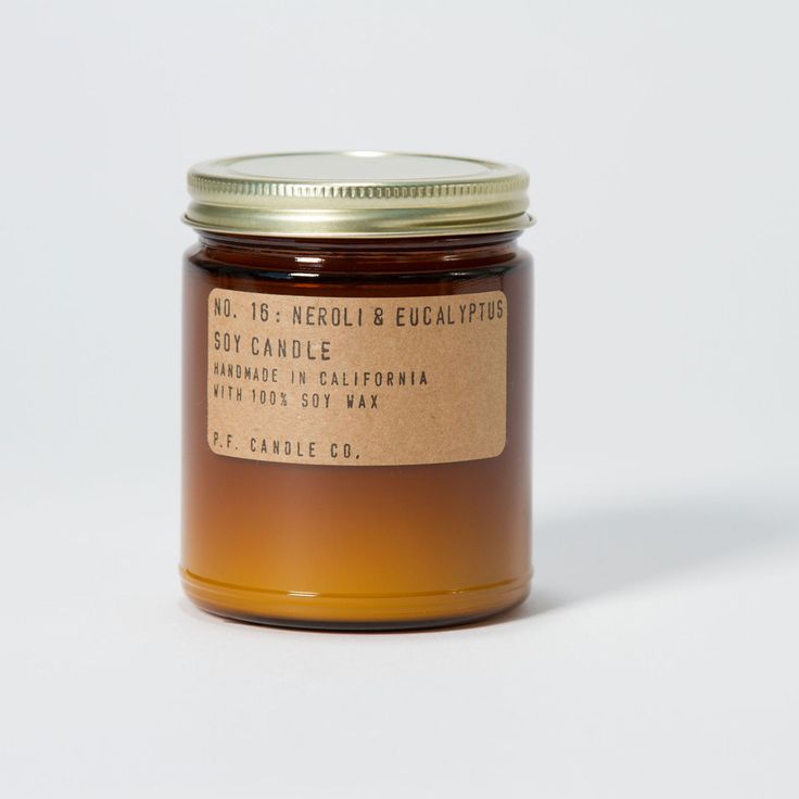 Neroli & Eucalyptus. Shop now at The Candle Library. P.F. Candle Co. hand pour their candles in LA using 100% soy wax.