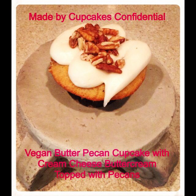 Today's Cupcake: Vegan Butter Pecan cupcake with cream Cheese Buttercream topped with Pecans #butter #pecan #cupcake #cream #cheese #buttercream #frosting #topped #baked #pecans #baking #bakery #cupcakery #cupcakeart #disabled #veteran #donationsaccepted #online #edibleart #fromscratch #givingback #gratitude #help #heroes #homemade #helpavet #inneed #military #nonprofit #order #thankful #unsungheroes #veterans