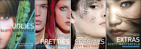 Uglies Serie by Scott Westerfeld - Uglies is set in a world in which everyone has an operation when they turn sixteen, making them supermodel beautiful. Big eyes, full lips, no one fat or skinny. You might think this is a good thing, but it's not. Especially if you're one of the Smokies, a bunch of radical teens who've decided they want to keep their own faces. (How anti-social of them.)