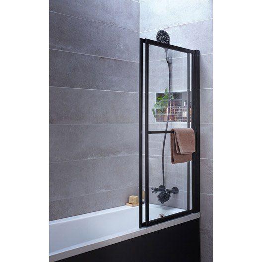 Pare-baignoire 2 volets pivotant coulissant 140 x 123cm verre transparent Lift