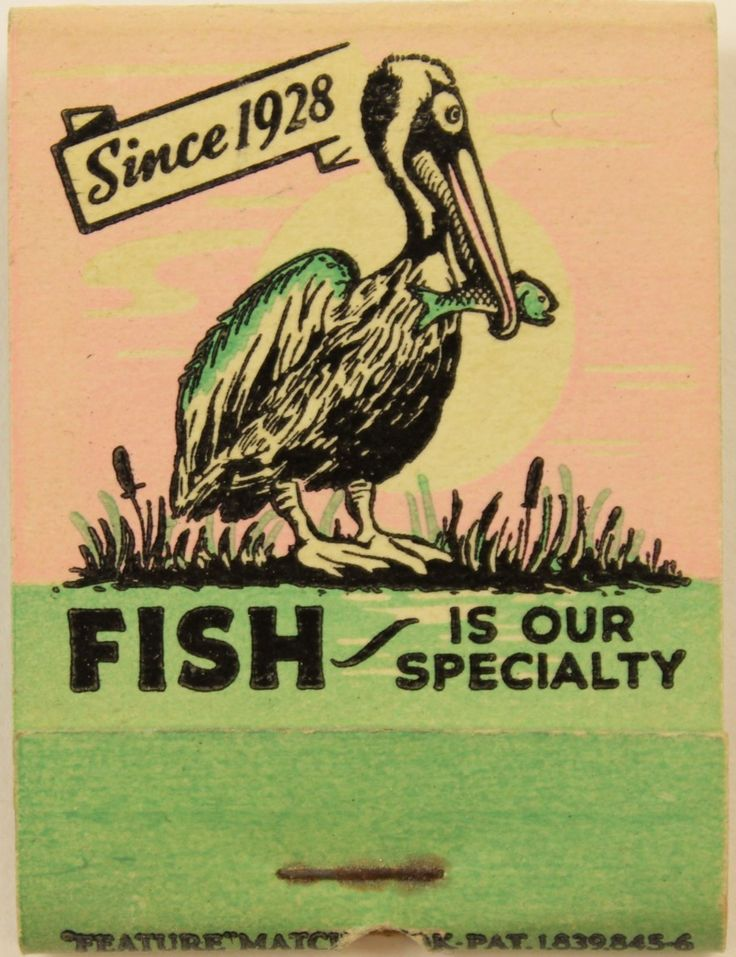 Pelican Restaurant #Matchbook Design & order your business' #matches from GetMatches.com #phillumeny