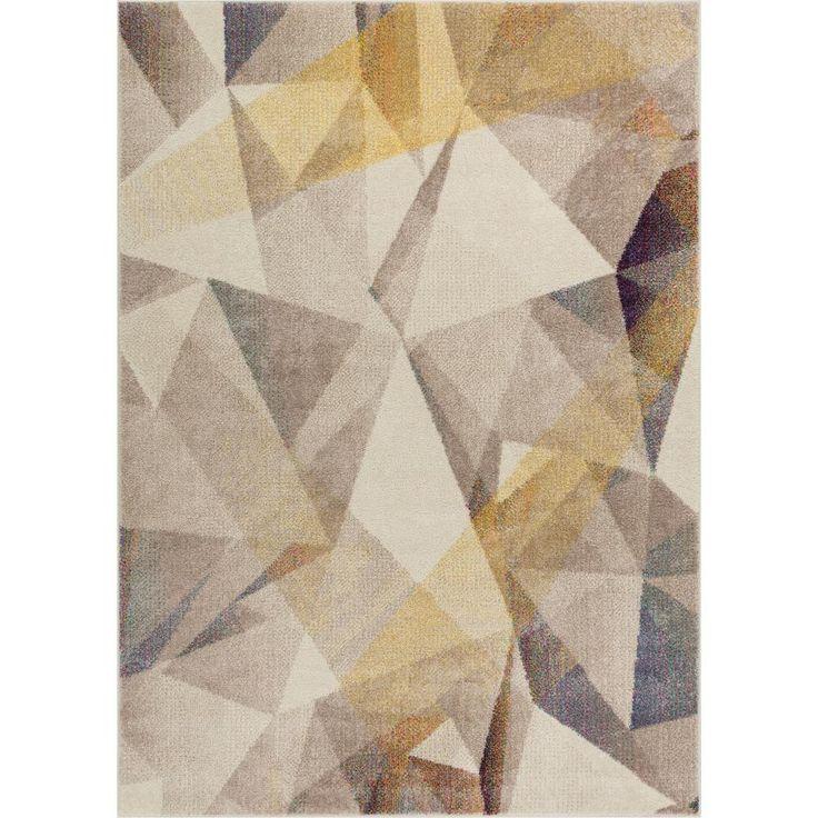Vettore Naomi Beige 7 ft. 10 in. x 10 ft. 6 in. Modern Geometric Prisma Triangle Area Rug