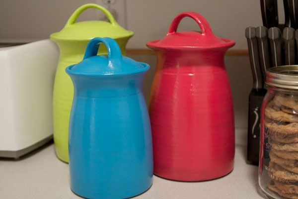 DecoArt painted ceramic jars, what a great idea, I think I need to head over to goodwill!