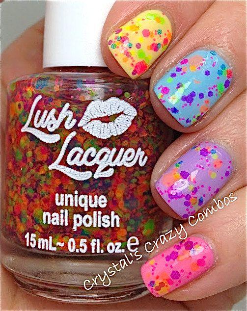 NEW--Clowning Around:  Custom-Blended NEON Glitter Nail Polish / Lacquer. $9.00, via Etsy.