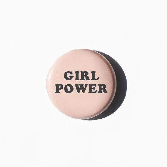 Girl Power Pinback Button Girl Power Pin The by CupOfTeeStore