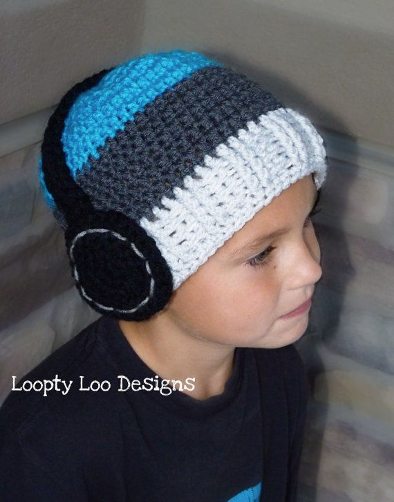 Headphone Hat Crochet Hat Photo Prop Baby Boy por LooptyLooDesigns